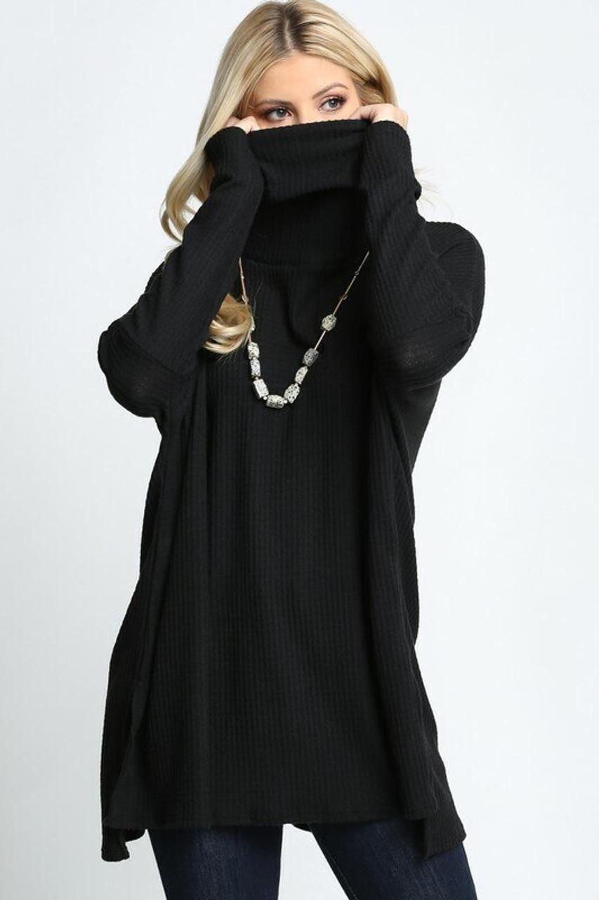Black Waffle Knit Cowl Neck Dolman Sleeve Top