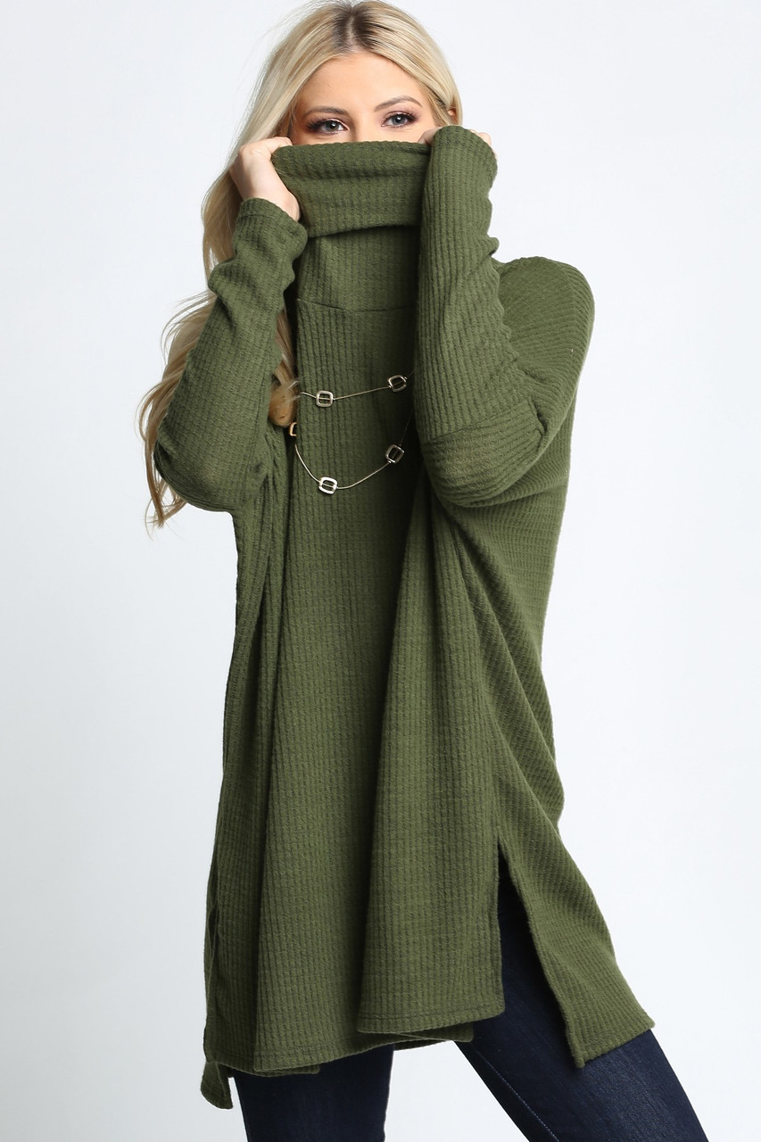 Olive Waffle Knit Cowl Neck Dolman Sleeve Top