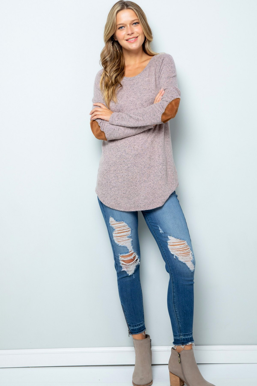 Waffle Knit Elbow Contrast V Neck Long Sleeve Top - Plus Size