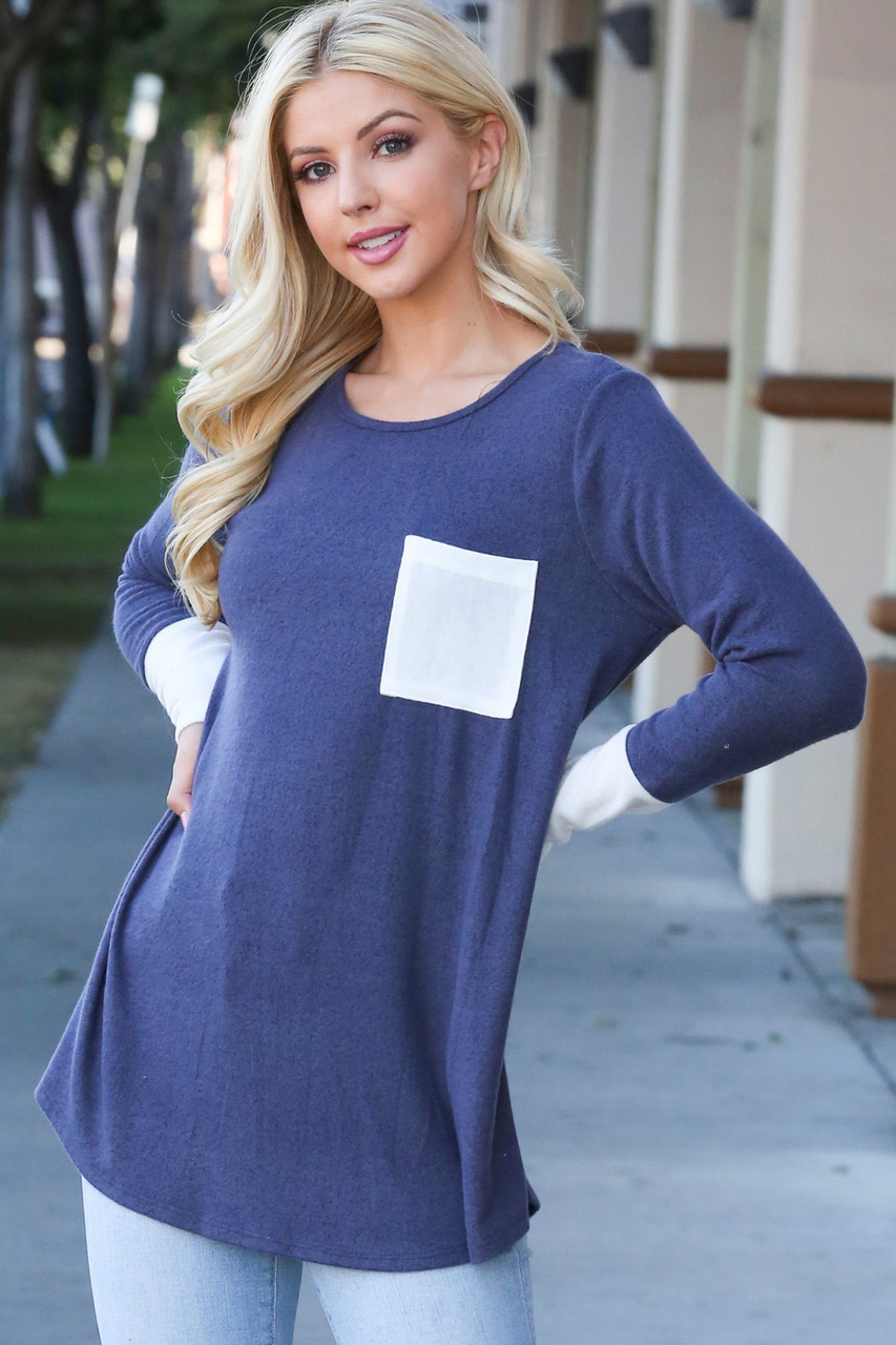 Contrast Cuff Long Sleeve Top with Front Pocket