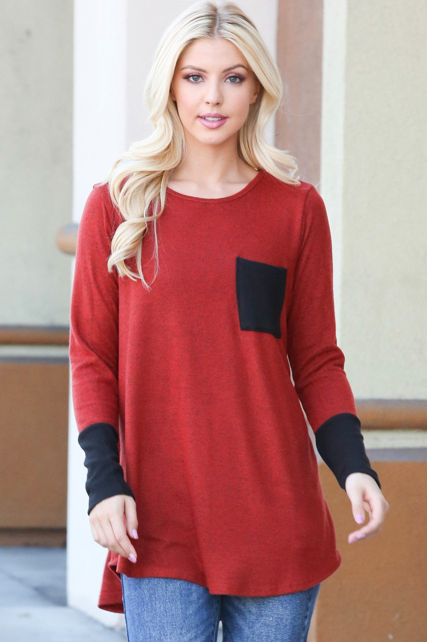 Ruby Contrast Cuff Long Sleeve Top with Front Pocket