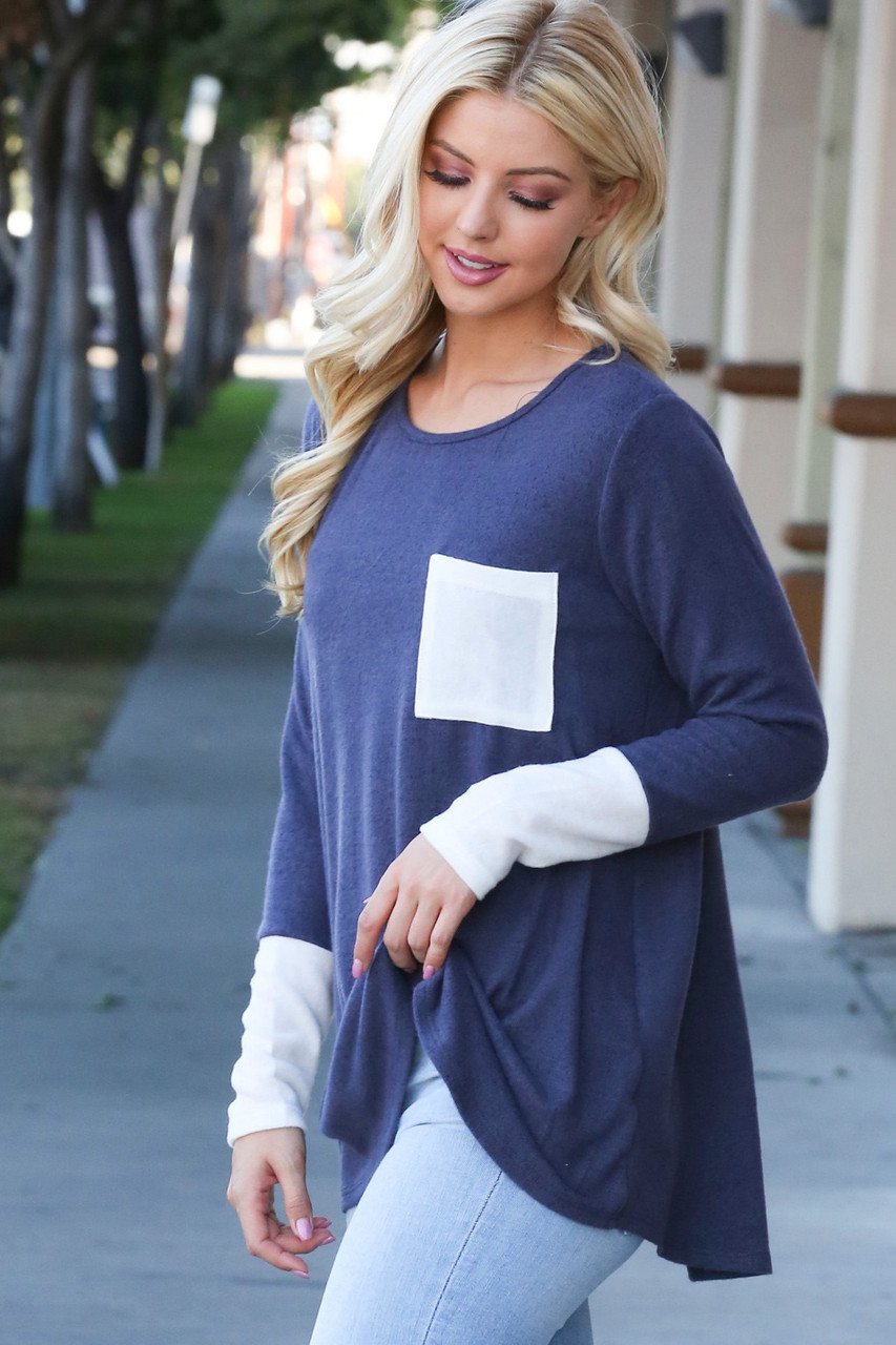 Navy Contrast Cuff Long Sleeve Top with Front Pocket