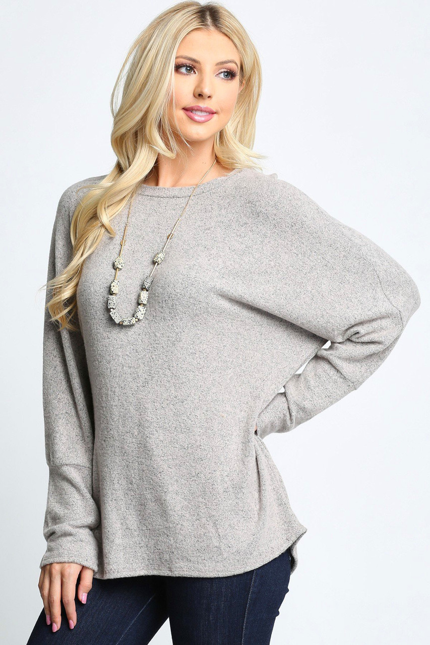 Heather Grey Solid Long Sleeve Dolman Plus Size Top