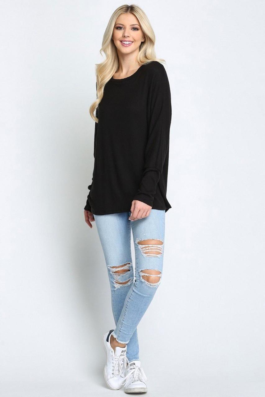 Black Solid Long Sleeve Dolman Plus Size Top