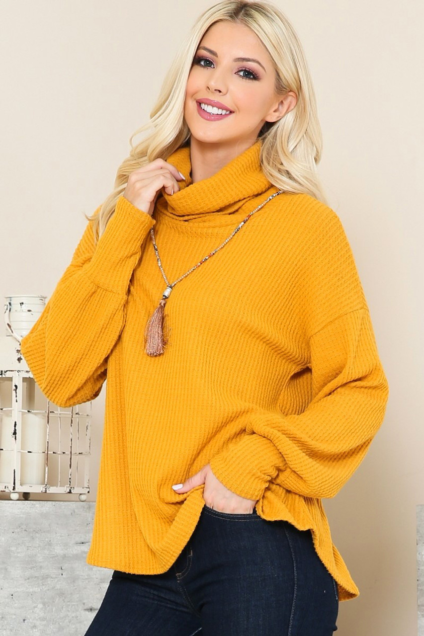 Waffle Knit Cowl Neck Long Sleeve Top - Plus Size