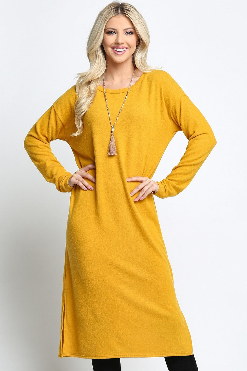Long Sleeve Side Slit Midi Length Plus Size Sweater Dress