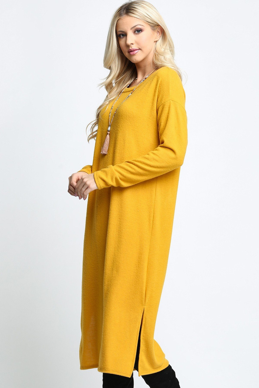 Mustard Long Sleeve Side Slit Midi Length Plus Size Sweater Dress