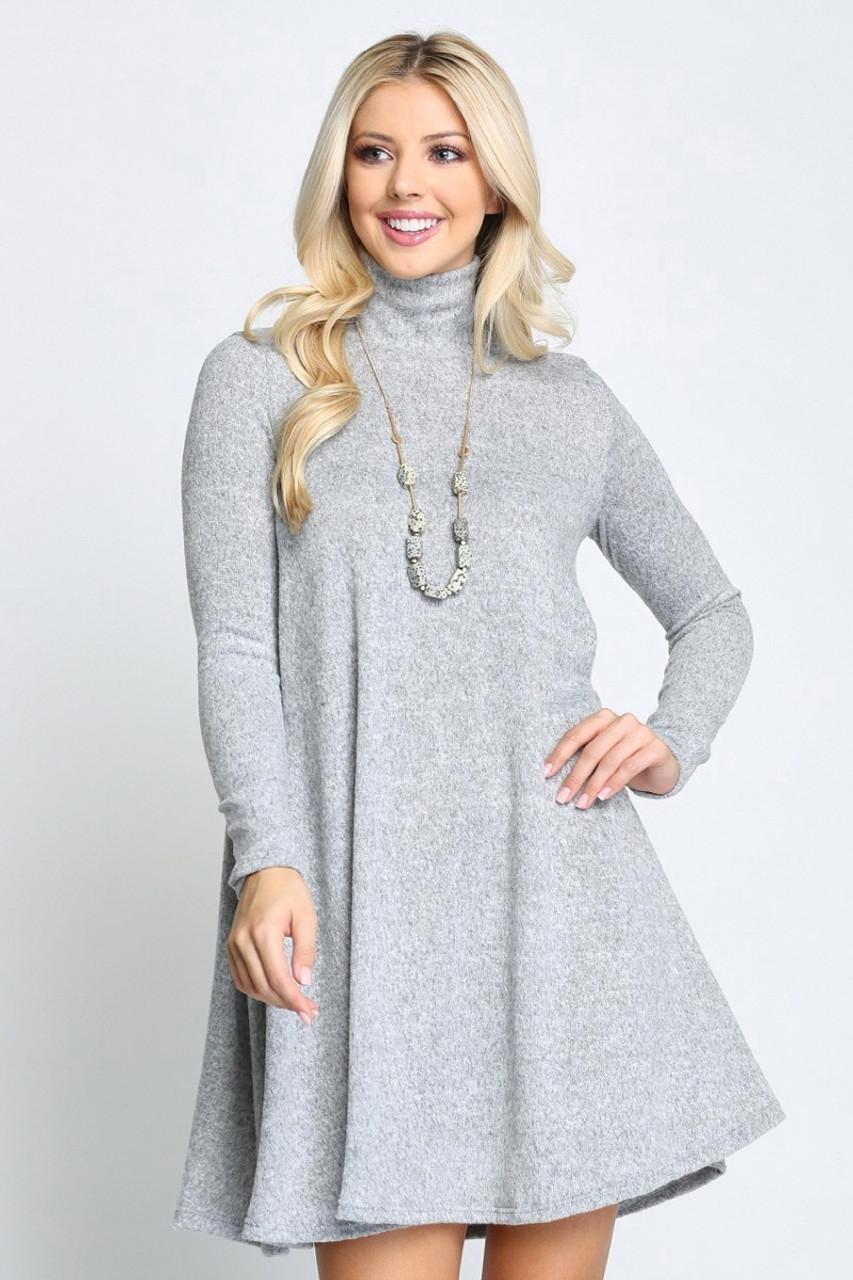 Long Sleeve Hacci Knit Mock Neck Plus Size Swing Dress