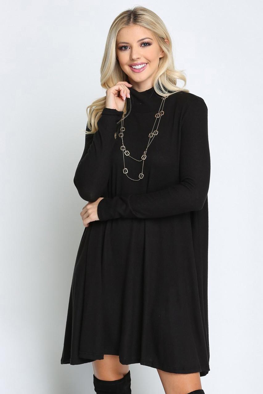 Black Long Sleeve Hacci Knit Mock Neck Swing Dress
