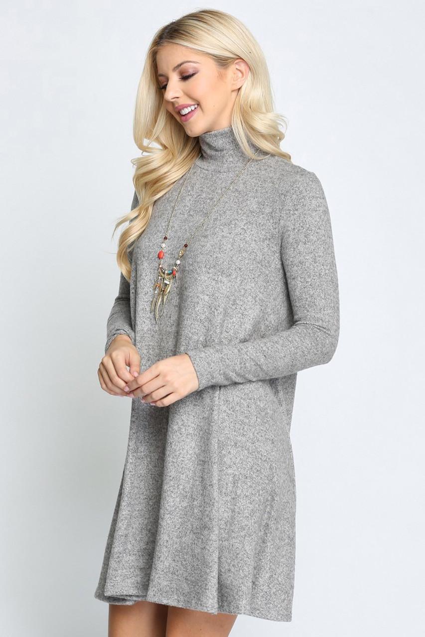 Heather Grey Long Sleeve Hacci Knit Mock Neck Swing Dress