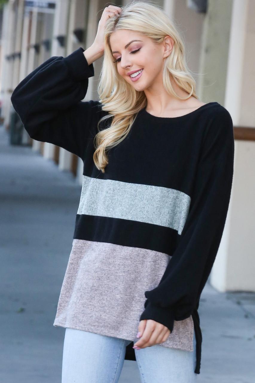 Hi-Low Color Blocked Long Sleeve Top