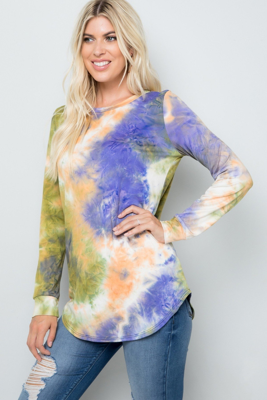 Olive Tie Dye Round Neck Long Sleeve Plus Size Top