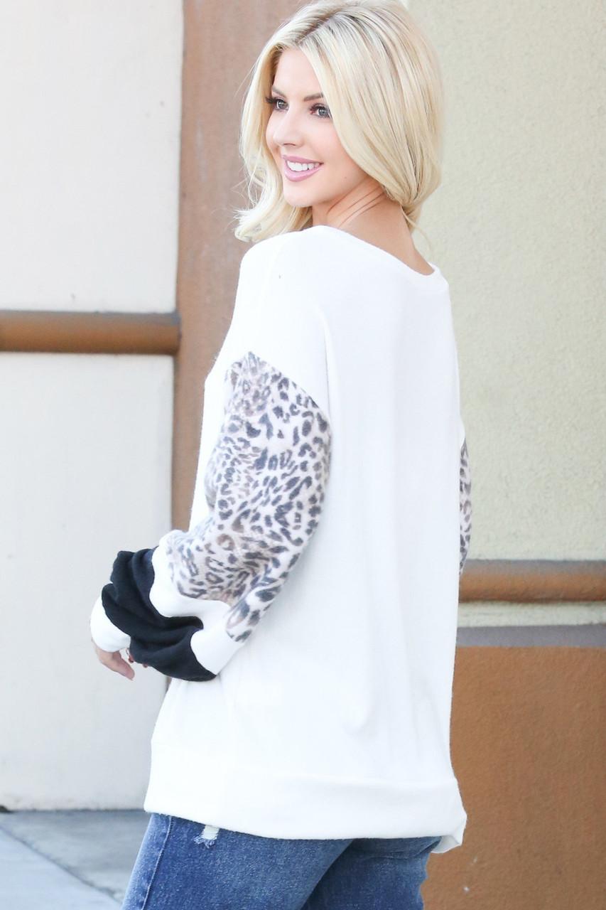 Ivory Leopard Contrast Dropped Shoulder Long Sleeve Top