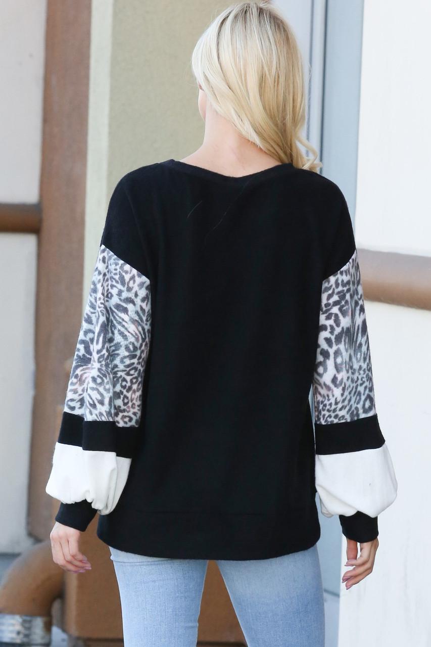 Leopard Contrast Dropped Shoulder Long Sleeve Top