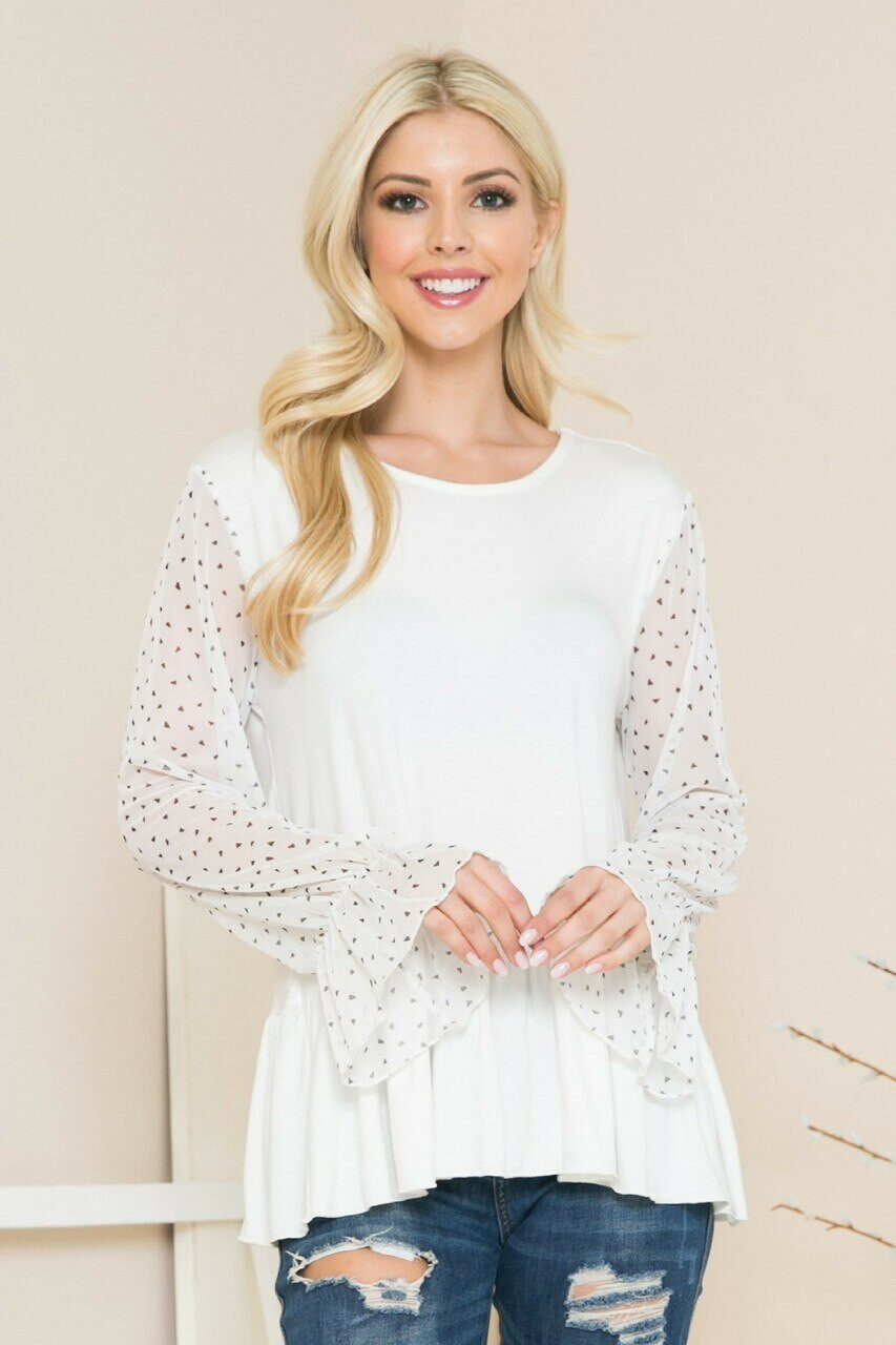 Ivory Speckled Mesh Sleeve Pleated Hem Bell Cuff Top