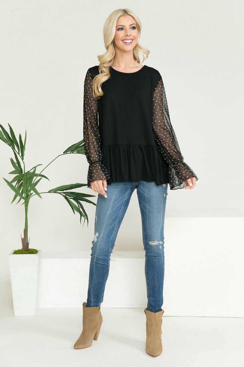 Speckled Mesh Sleeve Pleated Hem Bell Cuff Top