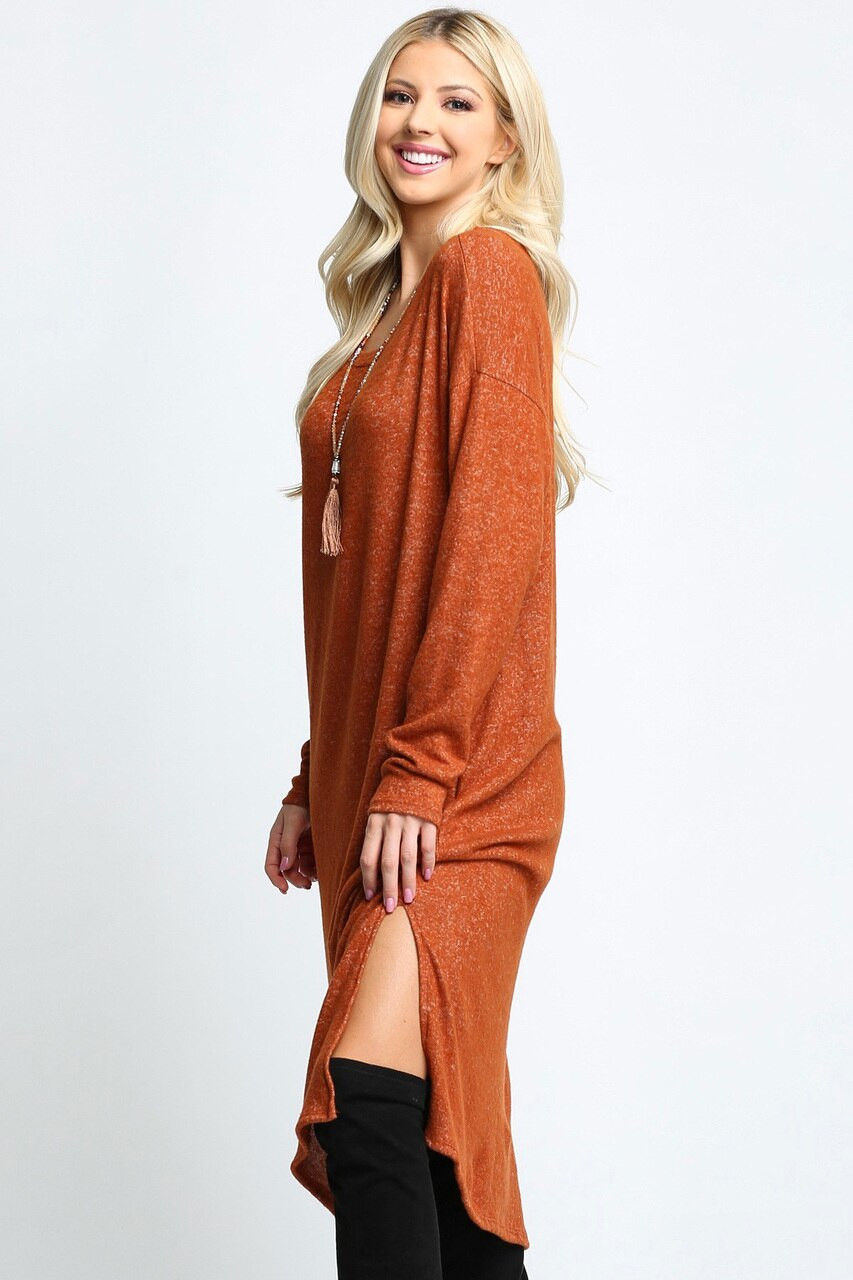 Rust Long Sleeve Side Slit Midi Length Sweater Dress