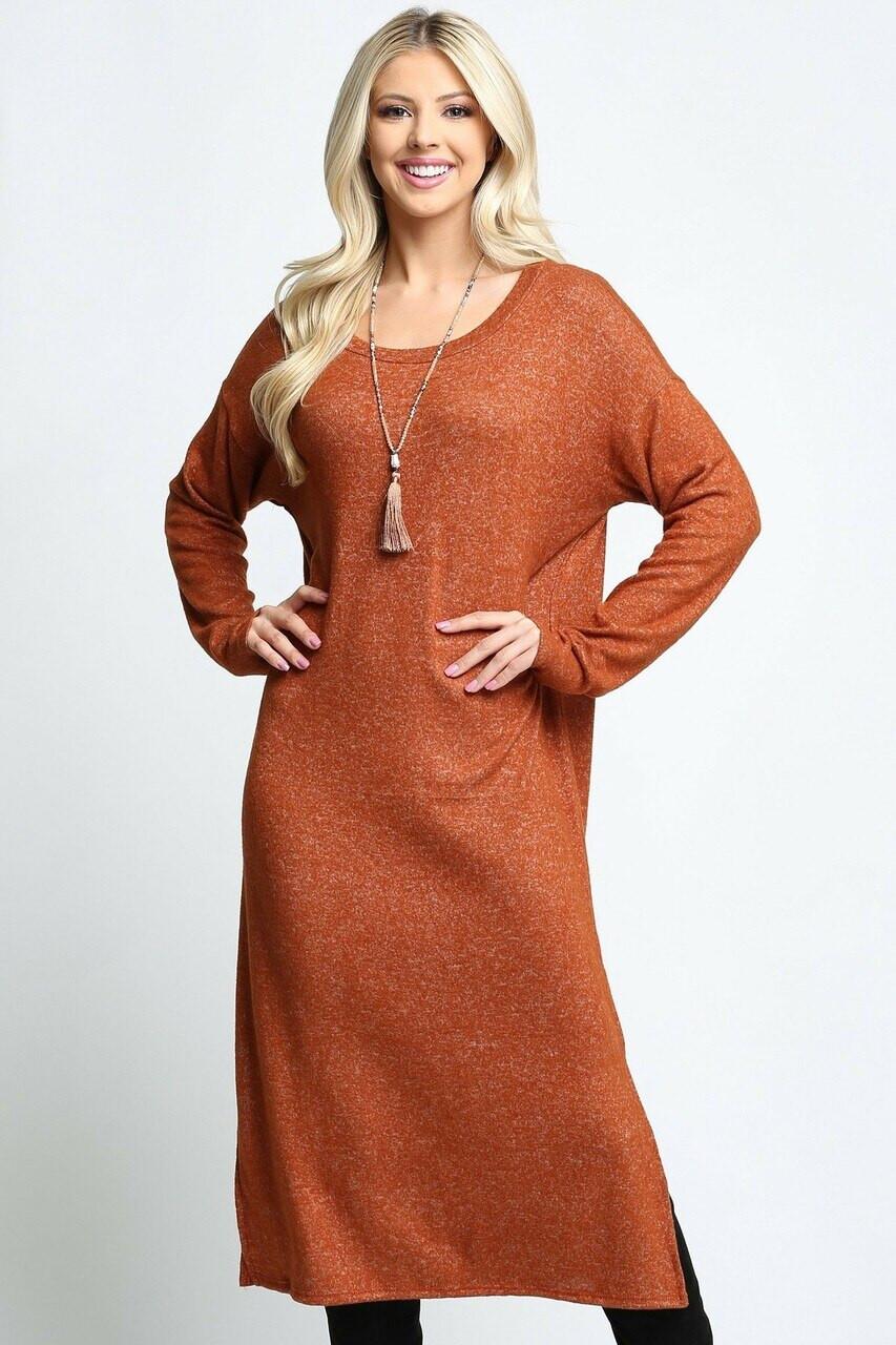 Long Sleeve Side Slit Midi Length Sweater Dress