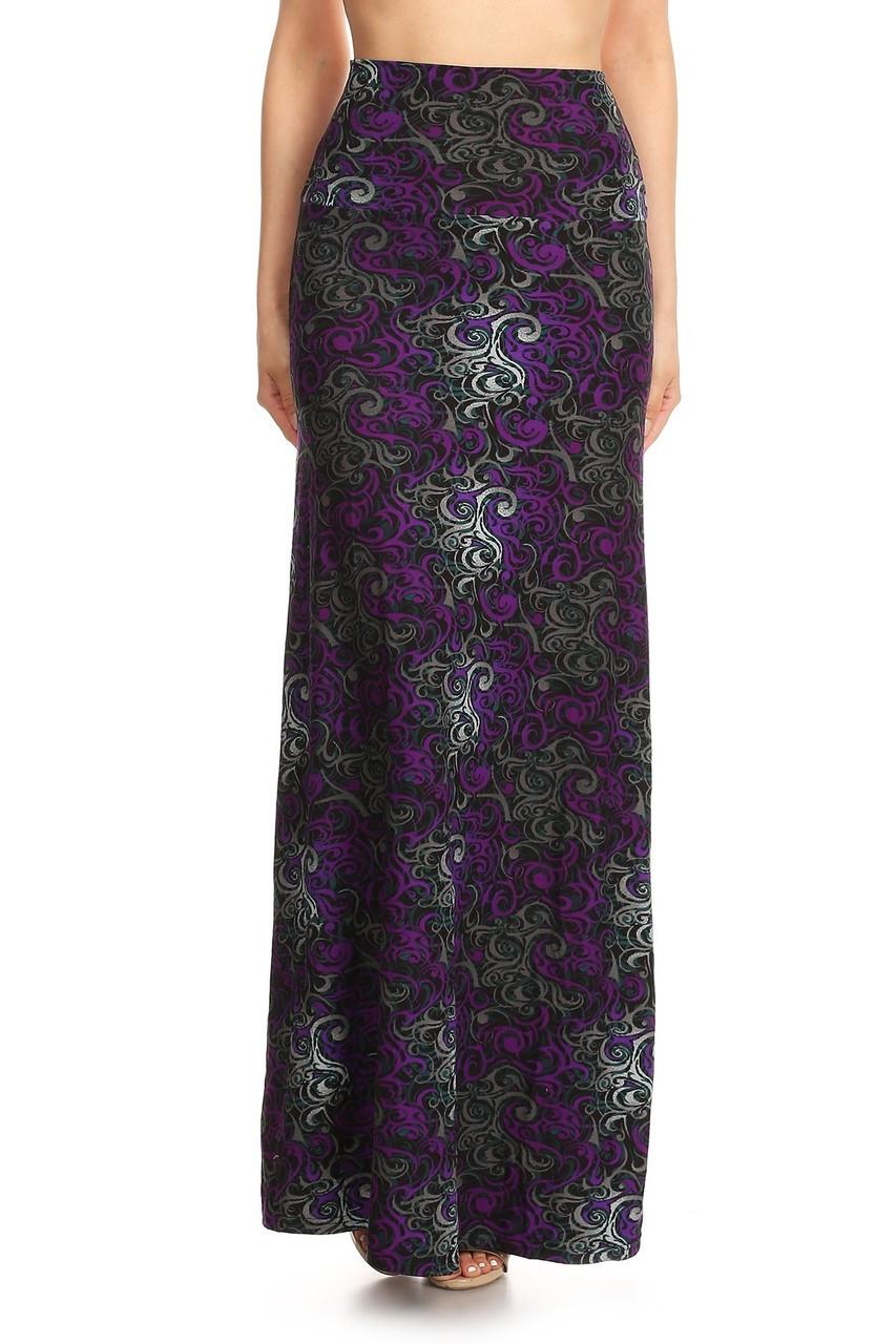 Buttery Soft Purple Tangled Swirl Maxi Skirt