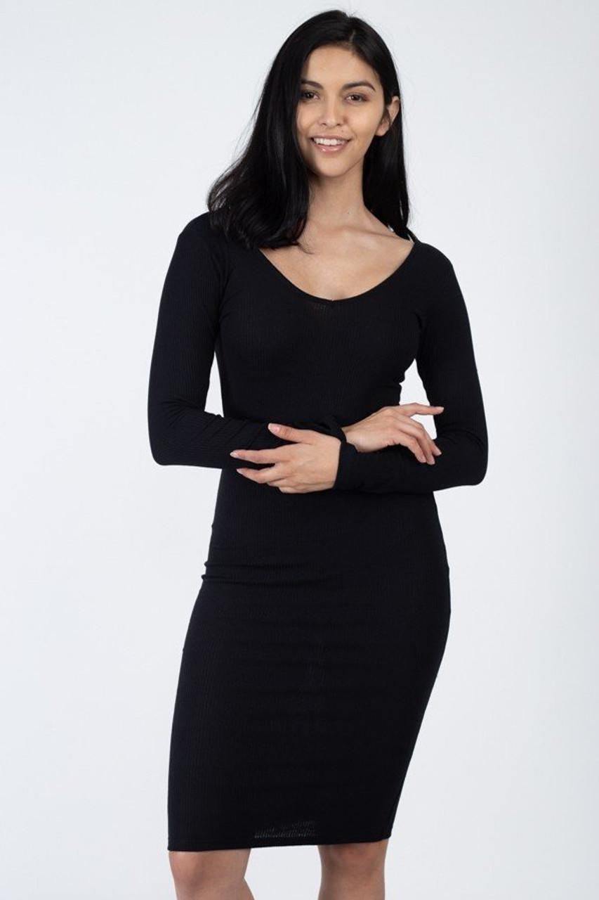 Long Sleeve Scoop Neck Rib Knit Bodycon Midi Dress