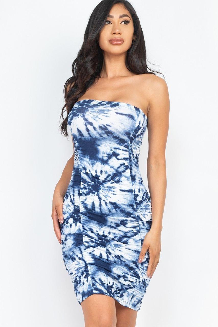 Ruched Strapless Tie Dye Bodycon Dress