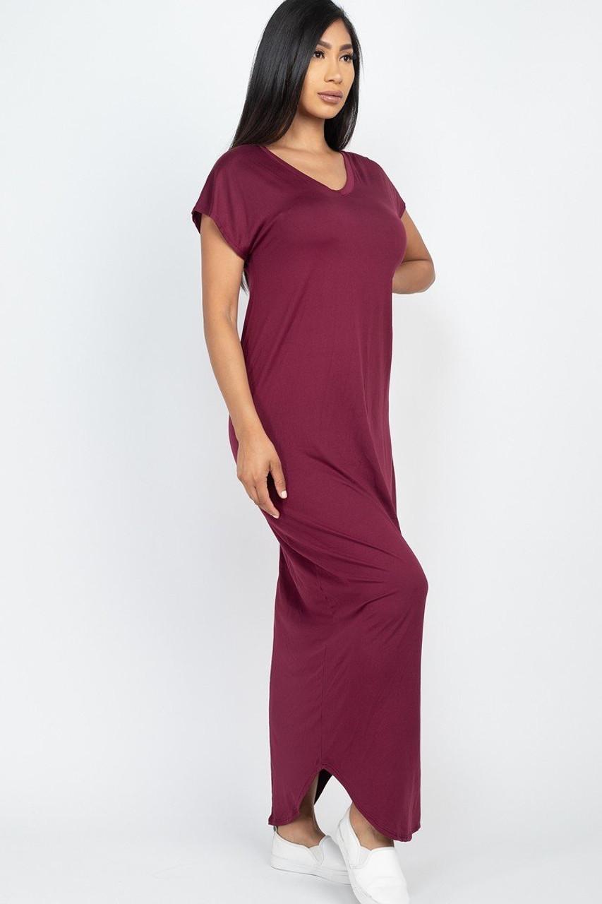 Solid Short Sleeve V-Neck Maxi Dress