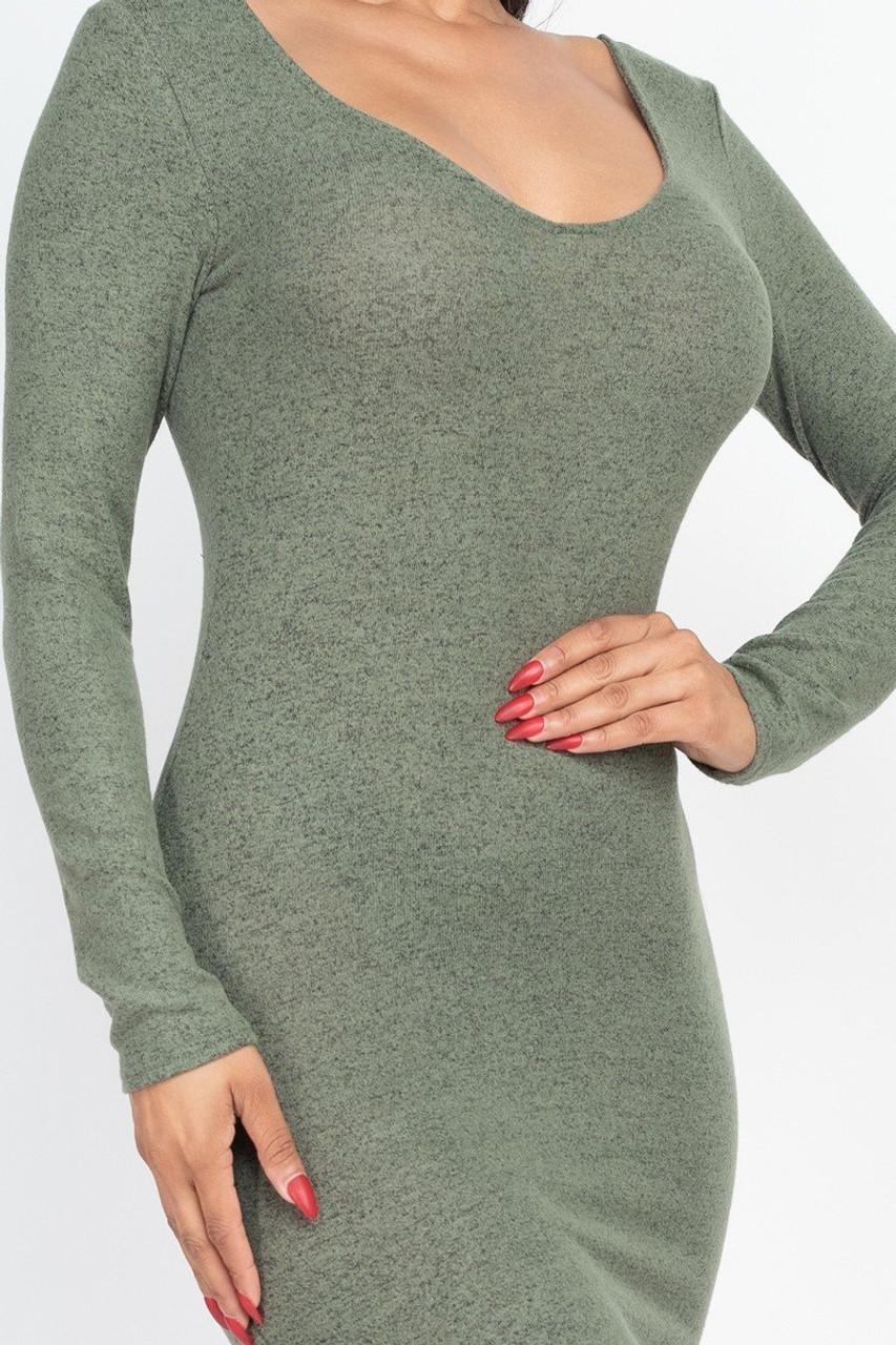 Long Sleeve Brushed Knit Scoop Back Midi Dress