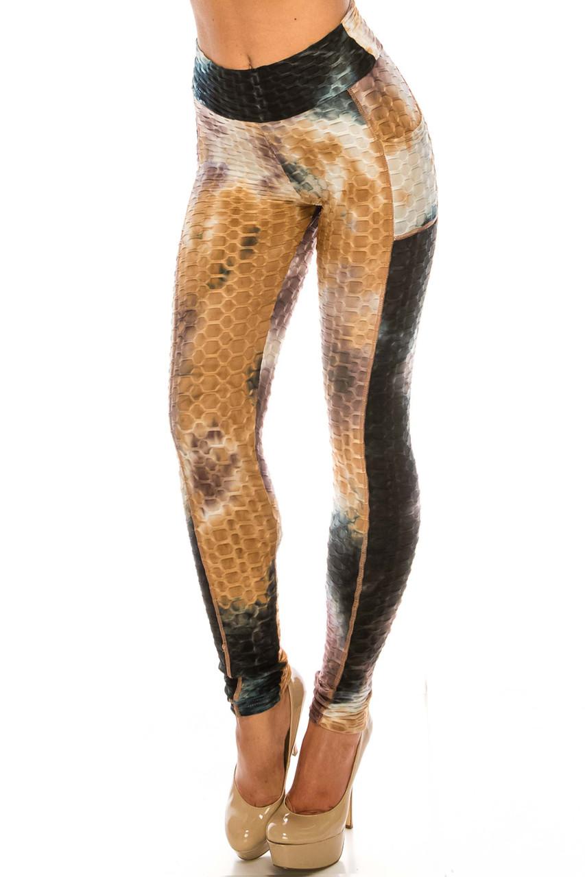 Premium Earthen Mocha Tie Dye Scrunch Butt Workout Leggings with Side Pockets