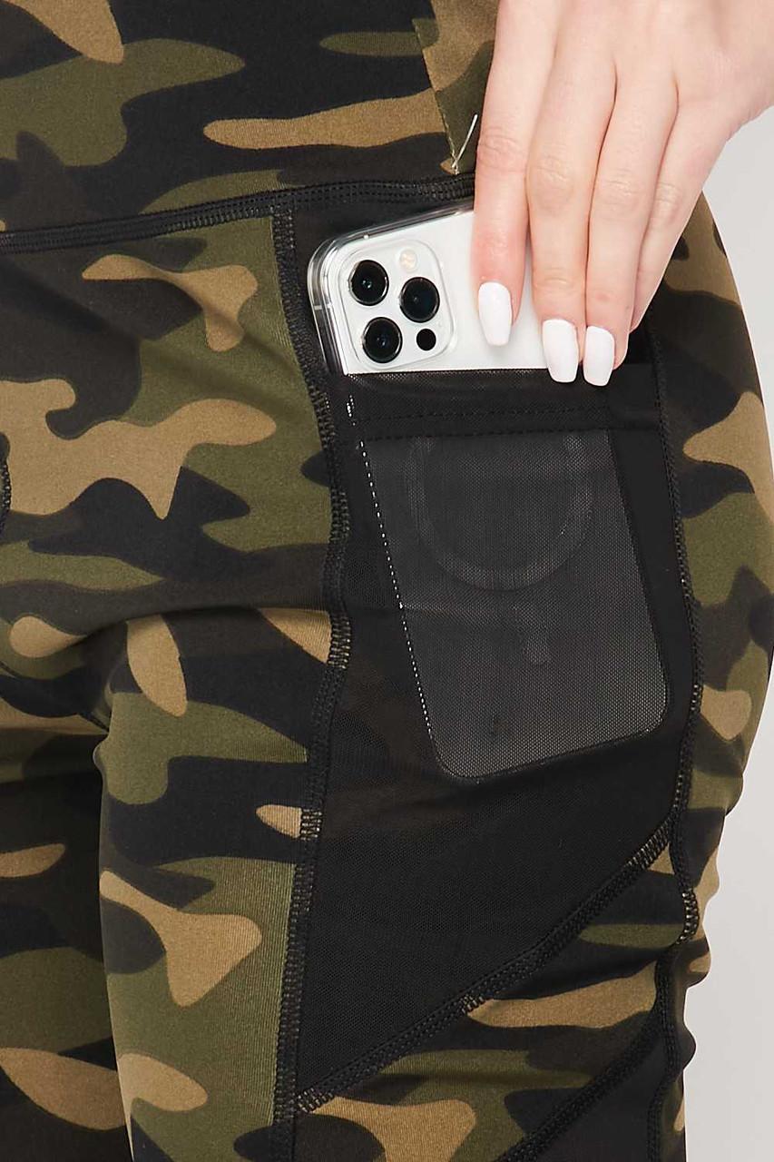 High Waisted Camouflage Mesh Pocket Biker Shorts and Crop Top Workout Set