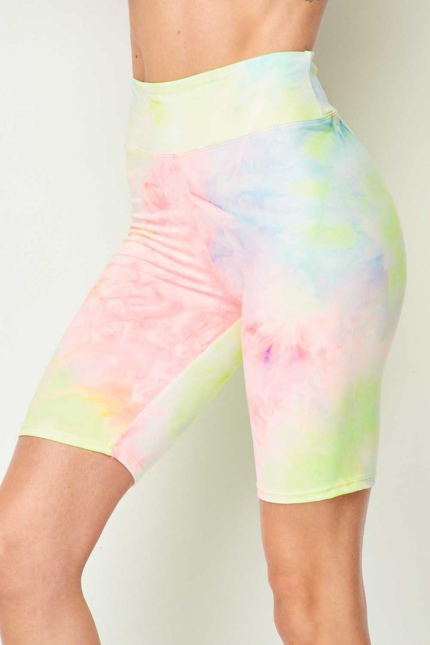 Pastel Tie Dye High Waisted Biker Shorts - 3 Inch Waist
