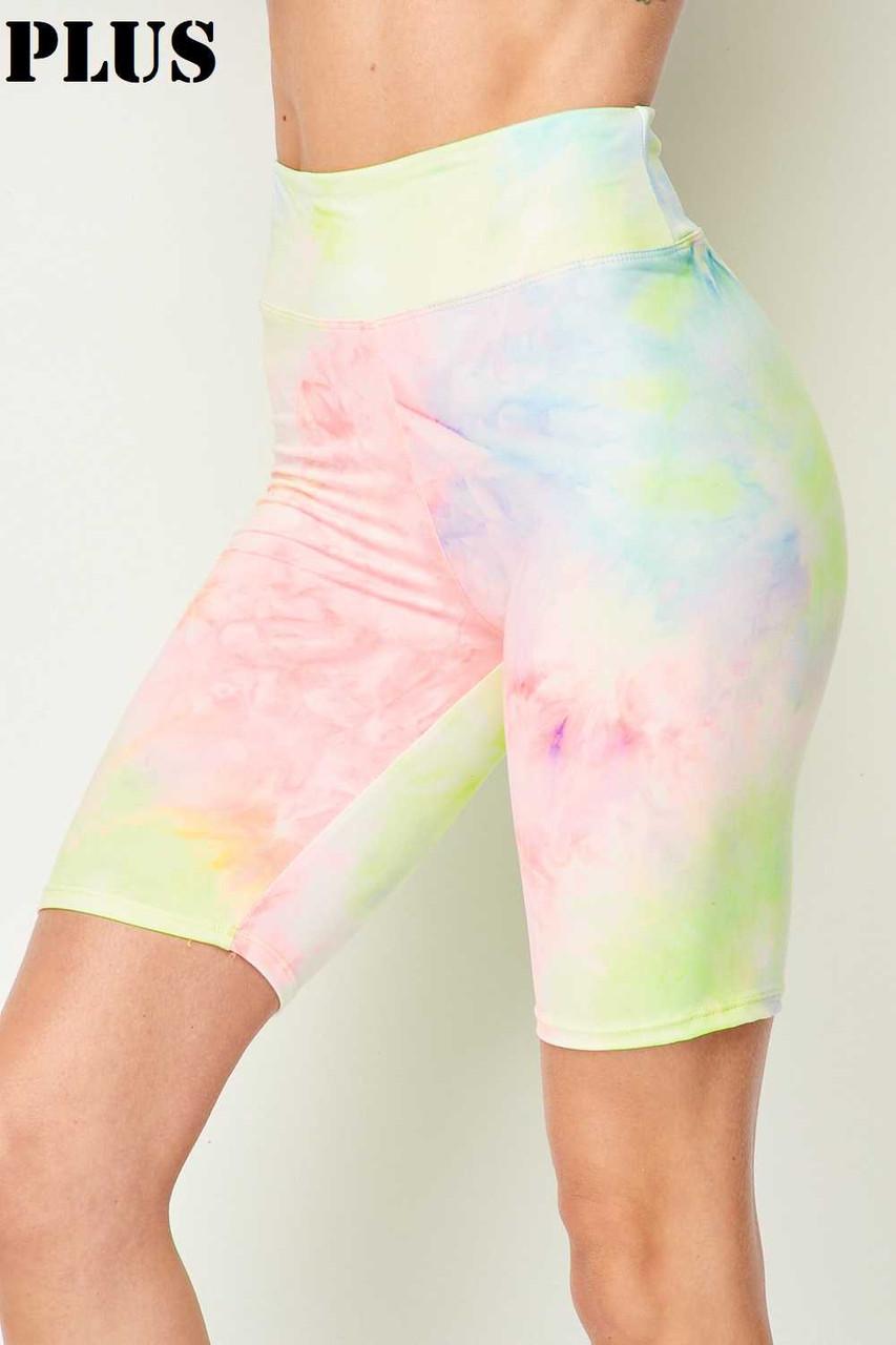 Buttery Soft Pastel Tie Dye High Waisted Plus Size Biker Shorts - 3 Inch Waist