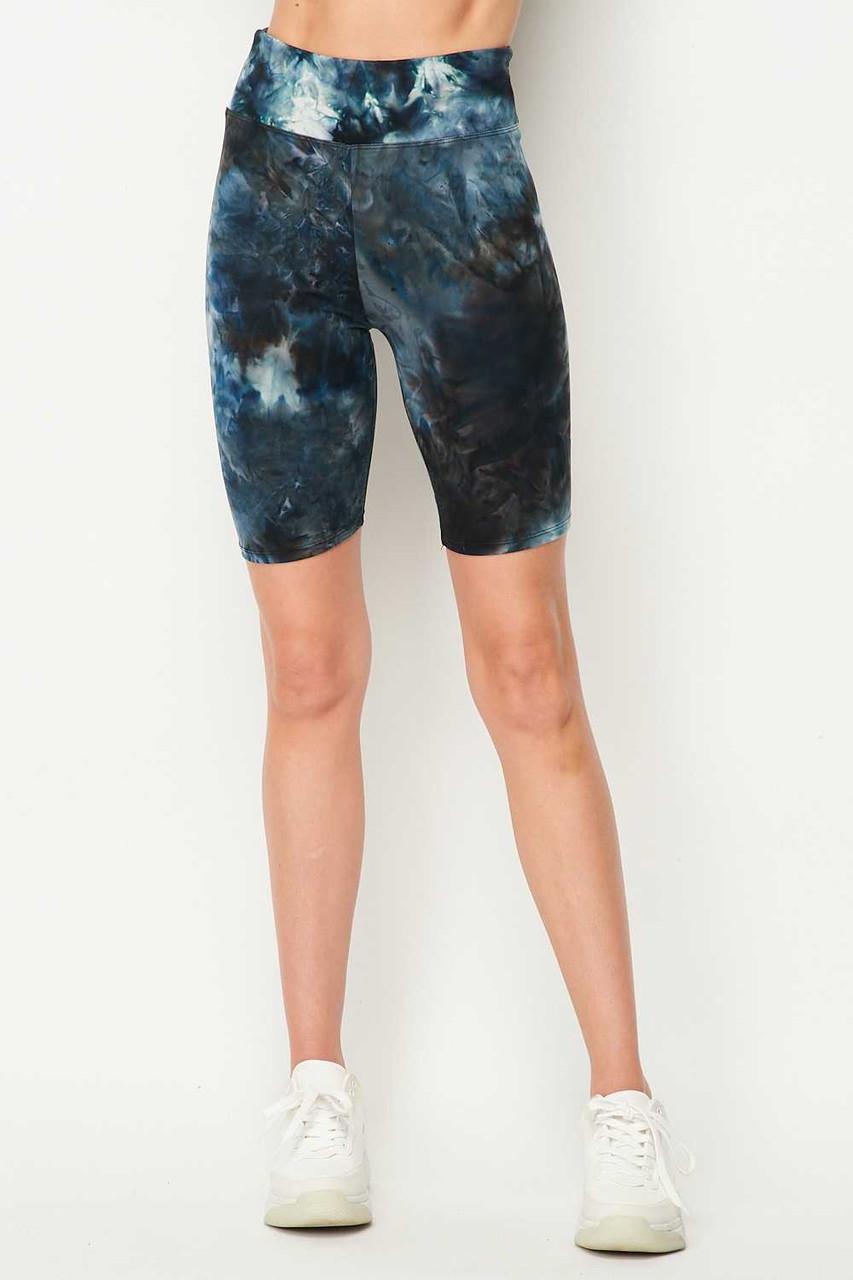 Buttery Soft Steel Blue Tie Dye High Waisted Biker Shorts - 3 Inch Waist
