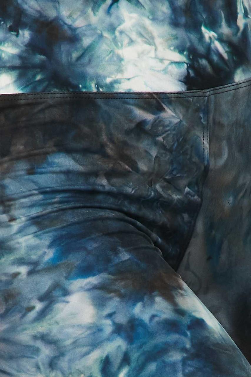 Steel Blue Tie Dye High Waisted Plus Size Biker Shorts - 3 Inch Waist