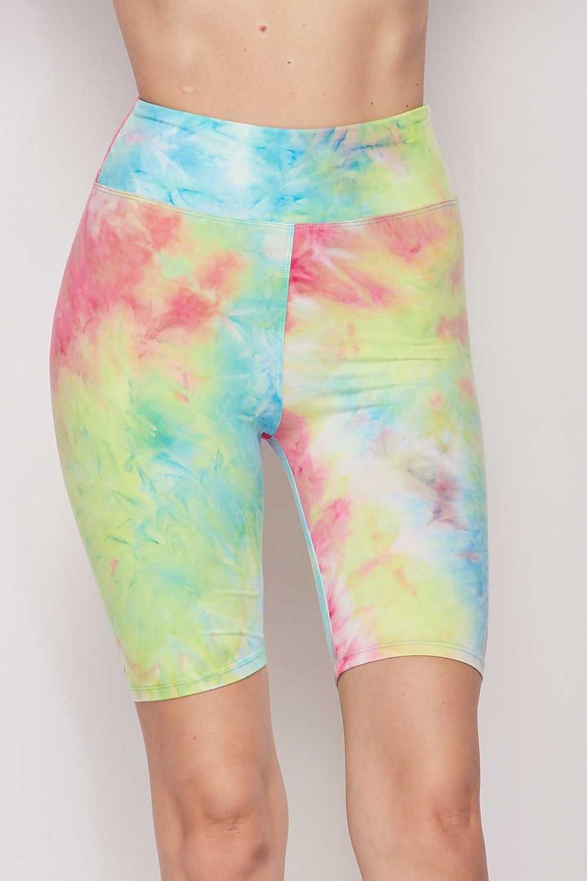 Blue/Pink Buttery Soft Tie Dye High Waisted Biker Shorts - 3 Inch Waist