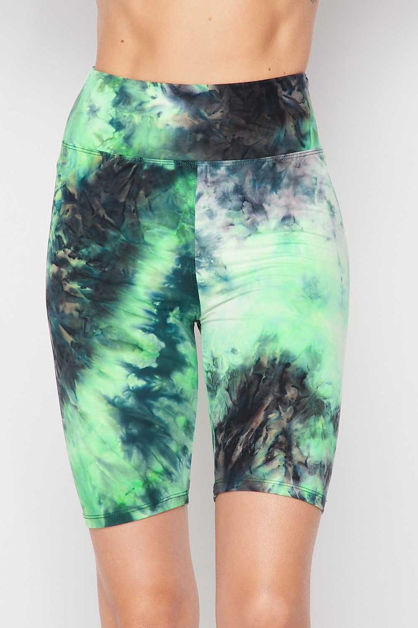 Green Buttery Soft Tie Dye High Waisted Biker Shorts - 3 Inch Waist