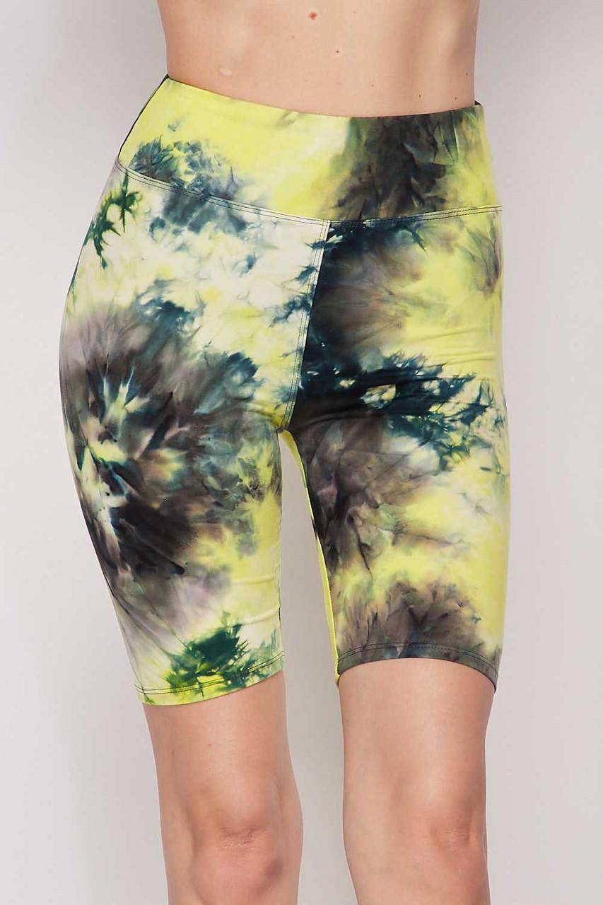 Yellow Buttery Soft Tie Dye High Waisted Biker Shorts - 3 Inch Waist