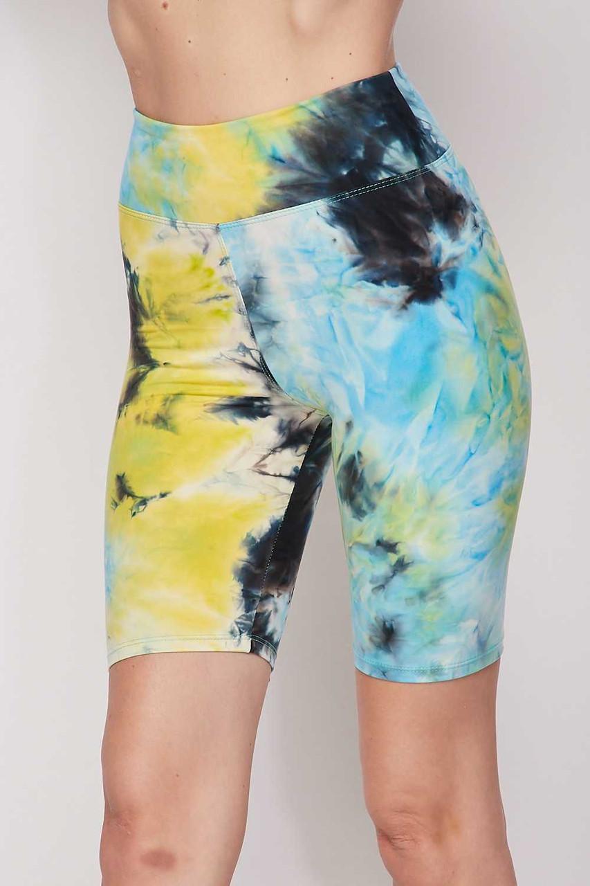 Blue Buttery Soft Tie Dye High Waisted Biker Shorts - 3 Inch Waist