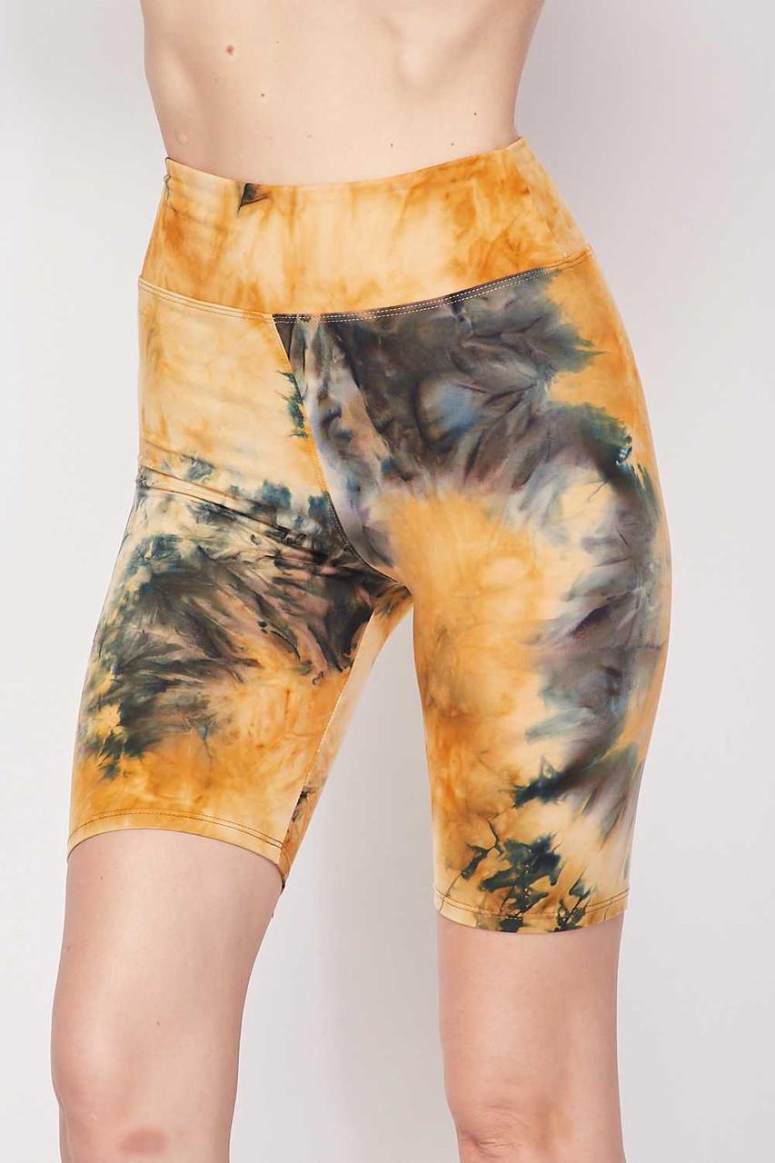 Camel Buttery Soft Tie Dye High Waisted Biker Shorts - 3 Inch Waist