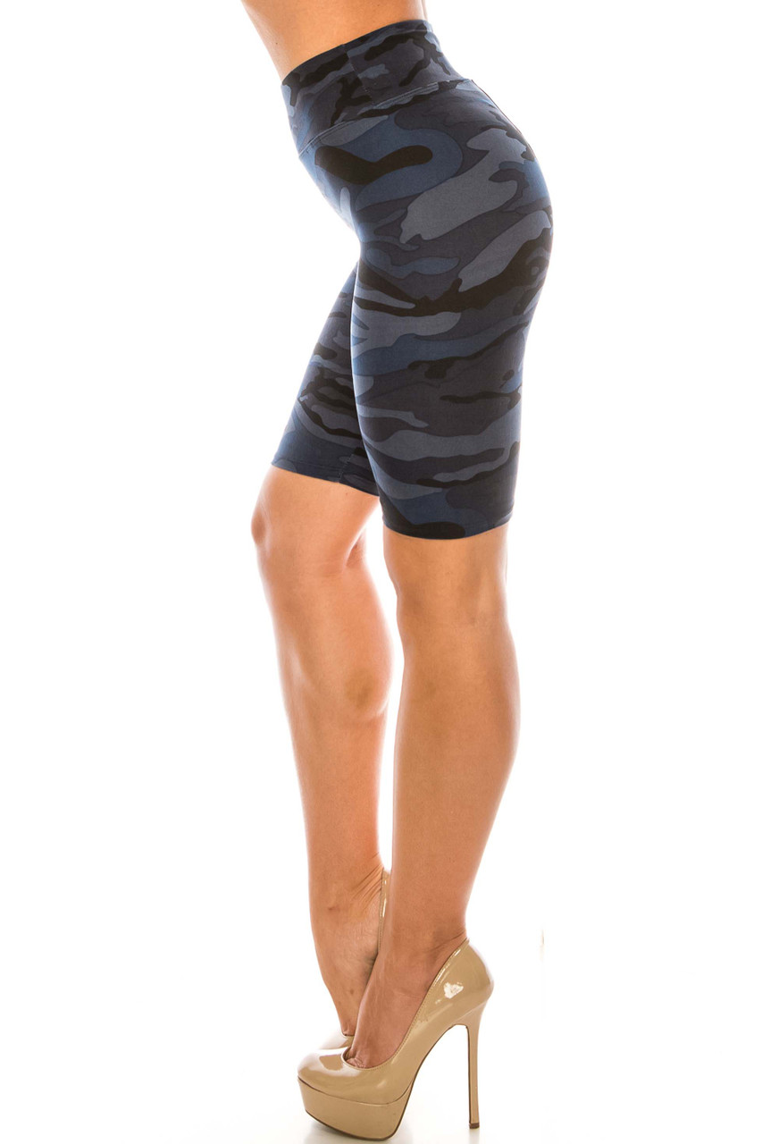 Left side of Navy Camouflage Plus Size Biker Shorts - 3 Inch Waist