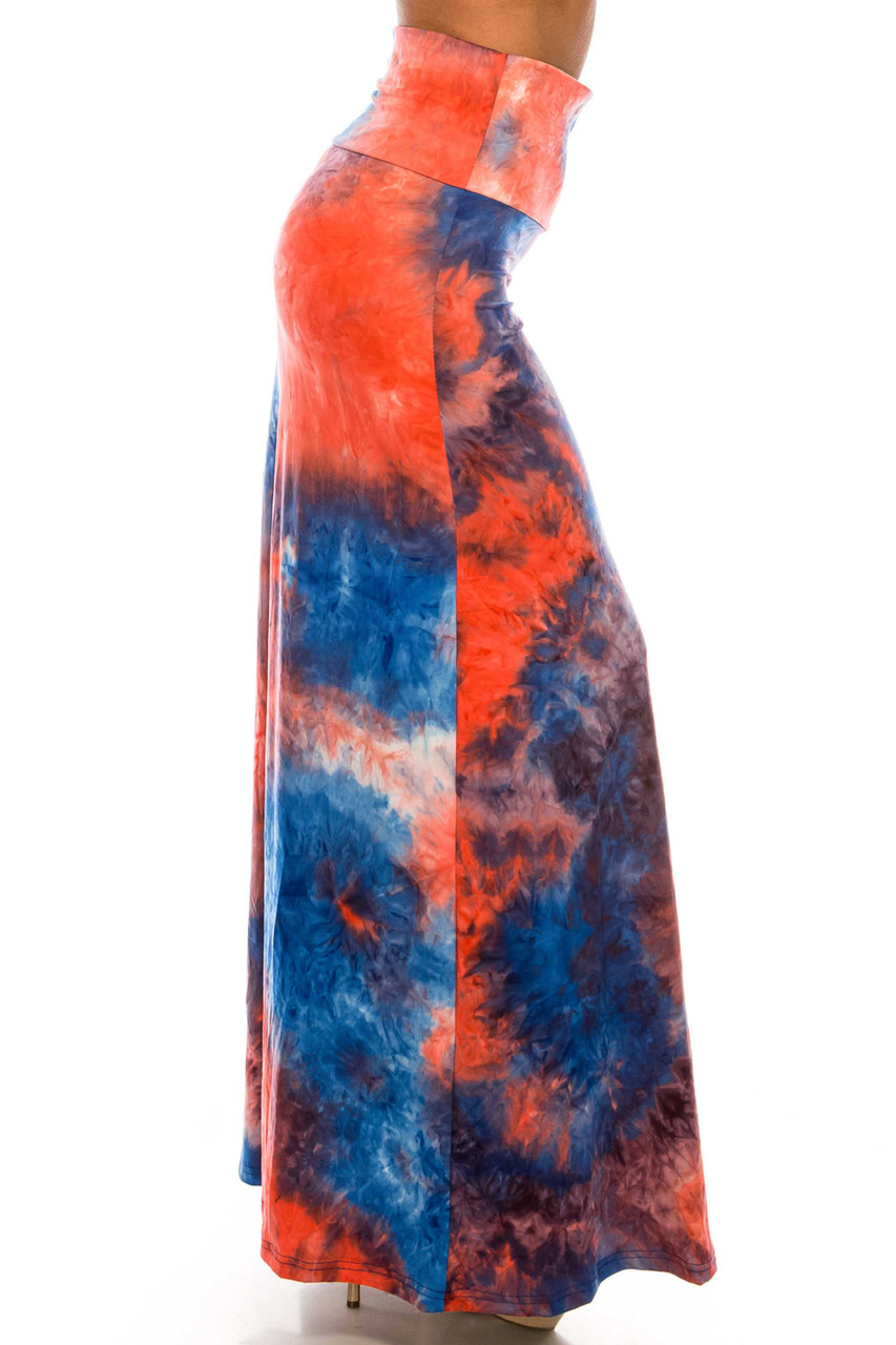 Right side of Buttery Soft Red and Blue Tie Dye Maxi Skirt with a red, blue, and white accented color scheme.