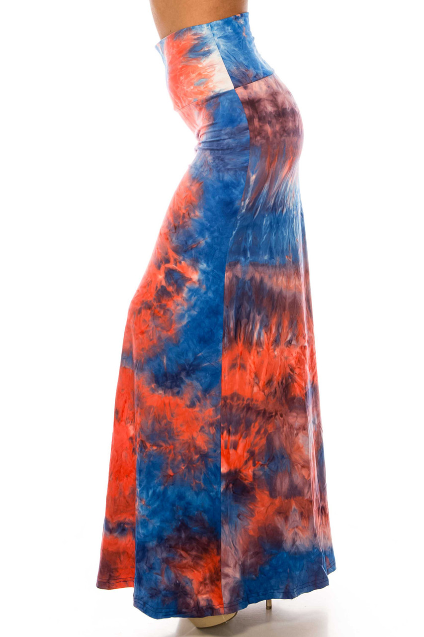 Left side of Buttery Soft Red and Blue Tie Dye Maxi Skirt with a comfort fabric high waist.