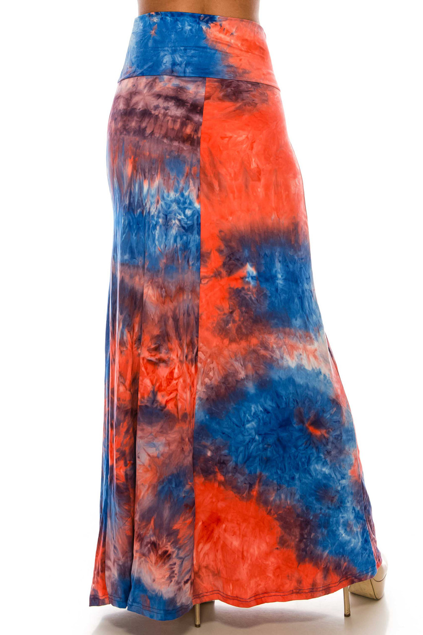 Back of Buttery Soft Red and Blue Tie Dye Maxi Skirt with a below ankle length hem