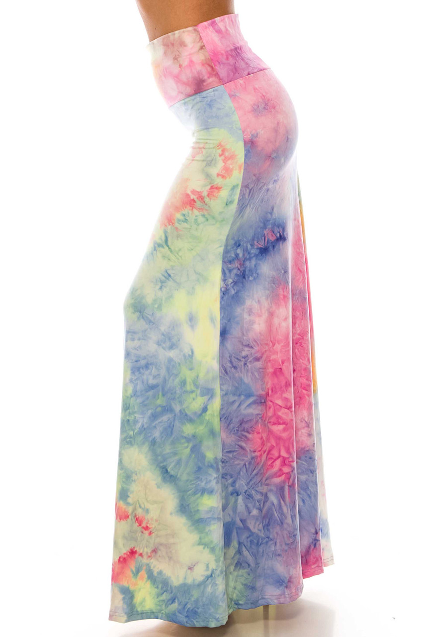 Left side of Buttery Soft Multi-Color Pastel Tie Dye Maxi Skirt featuring a gorgeous soft toned multi-colored design.