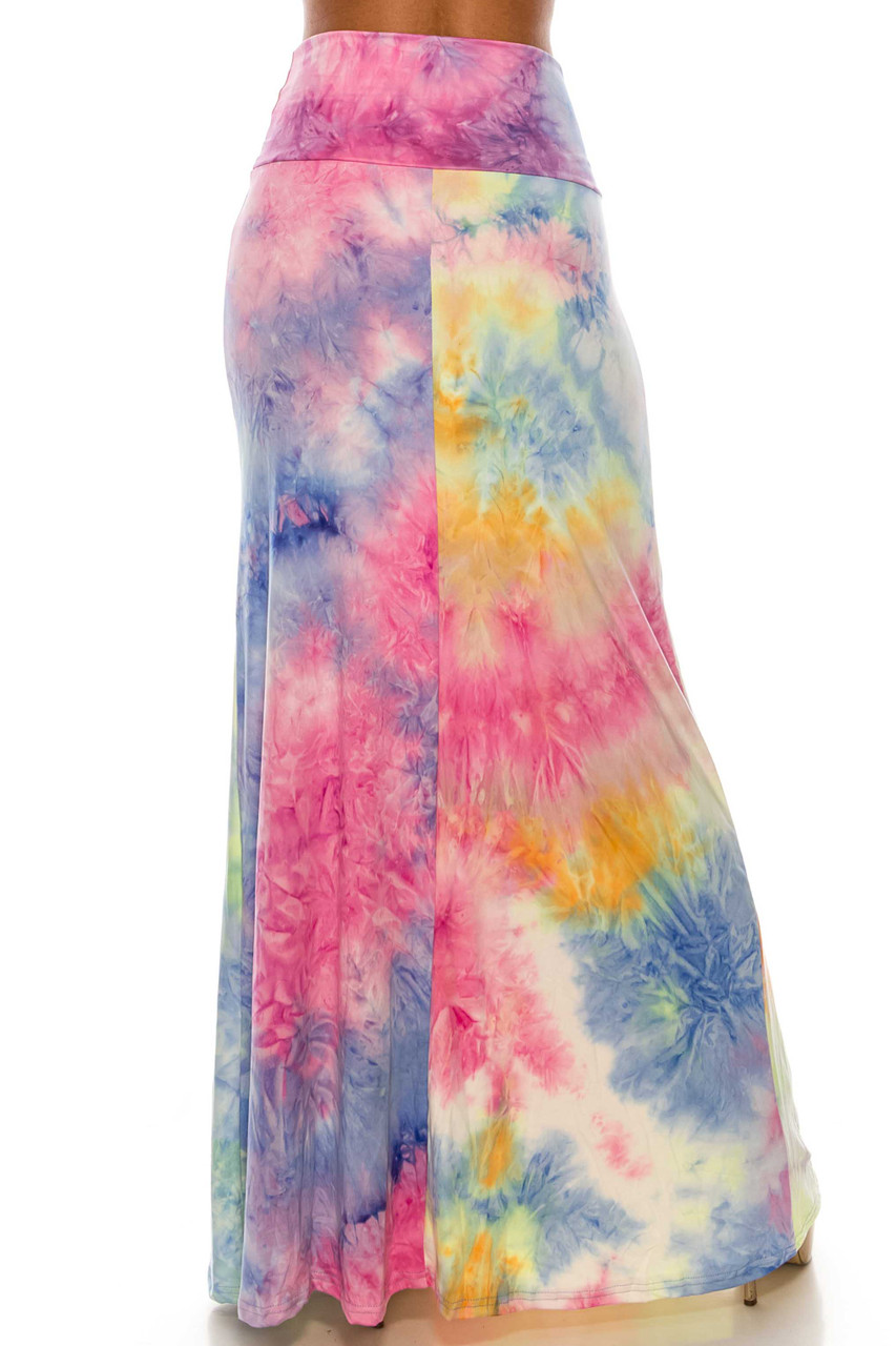 Back of Buttery Soft Multi-Color Pastel Tie Dye Maxi Skirt with a below the ankle hem.