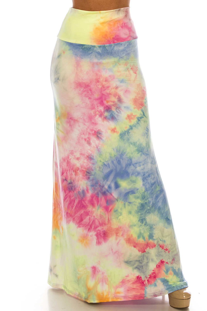 Front of Buttery Soft Multi-Color Pastel Tie Dye Maxi Skirt with a comfort fabric high waist.