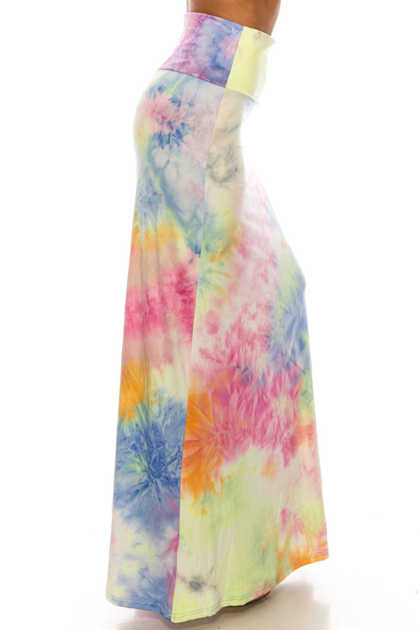 Right side of Buttery Soft Multi-Color Pastel Tie Dye Maxi Skirt