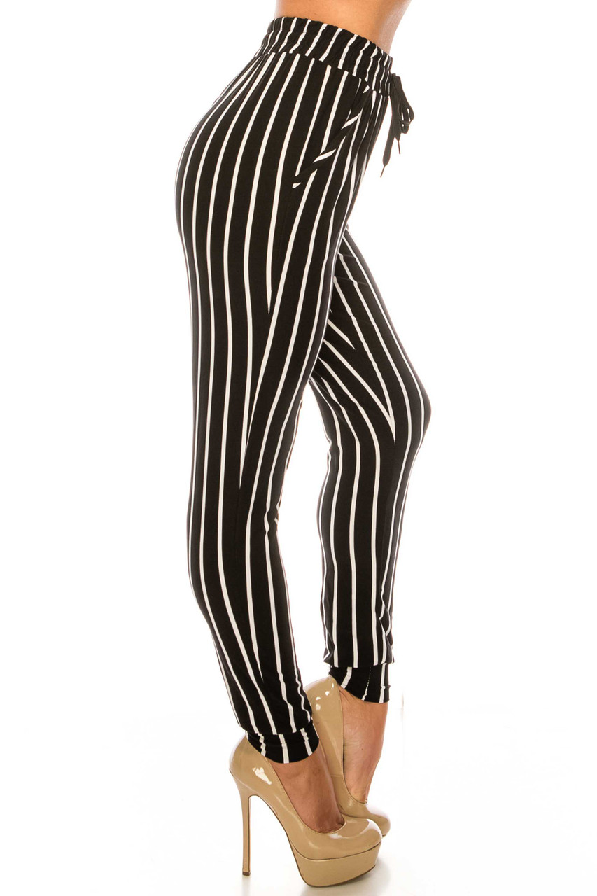 Right side of Buttery Soft Vertical Black Pinstripe Joggers