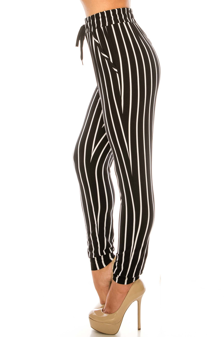 Left side of Buttery Soft Vertical Black Pinstripe Joggers
