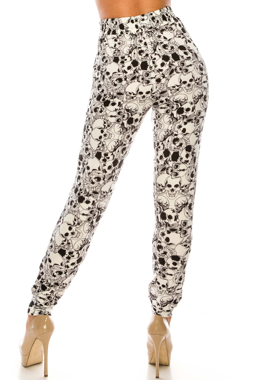 Rear view of Buttery Soft White Layers of Skulls Joggers with a comfortable loose fit and a luxurious fabric.