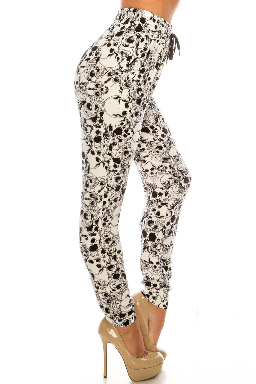 Right Buttery Soft White Layers of Skulls Joggers
